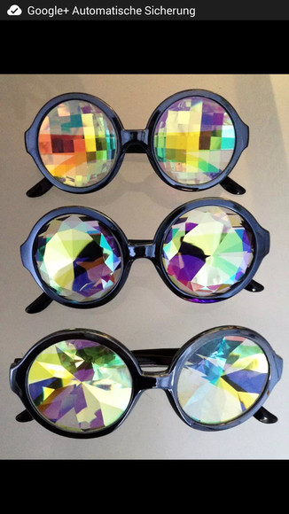 sunglasses round black crystal diamond texture rainbow colorful