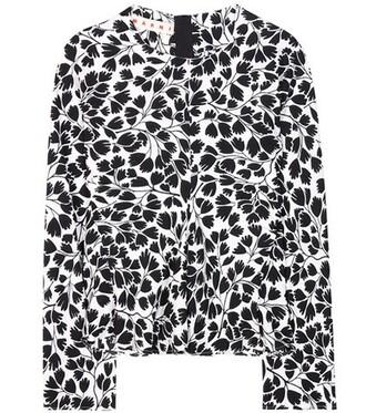 blouse floral silk black top