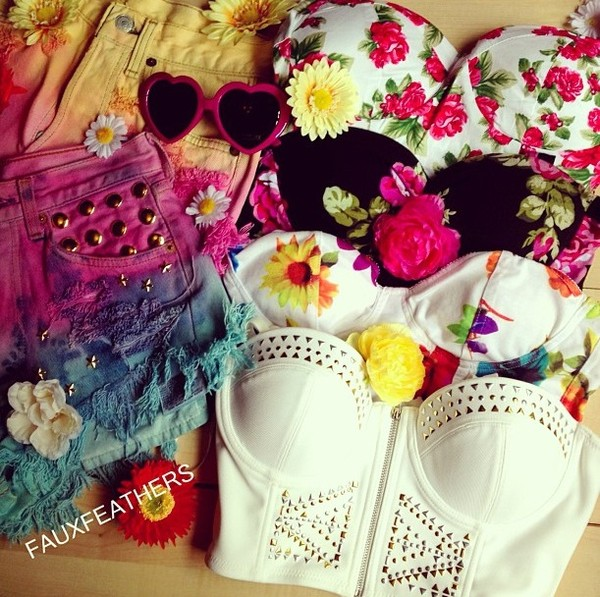 tank top hipster studded bustier bustier bralette bralette floral vintage crop dyeds high waisted dip dyed shorts white studs gold