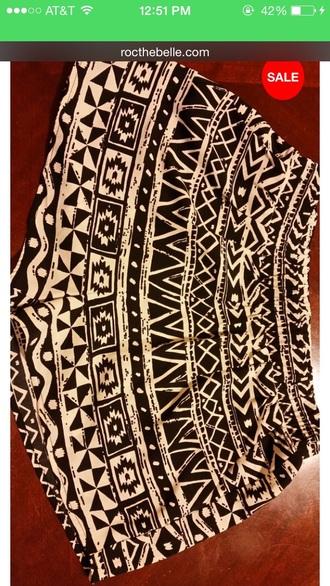 shorts tribal shorts style black shorts white shorts