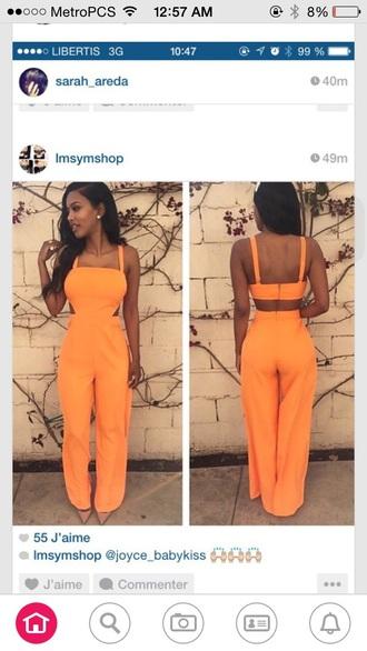 jumpsuit orange romper pants
