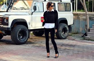 rana demir blogger top jeans sunglasses jewels classy shirt earrings black and white coffee zara h&m rayban streetstyle