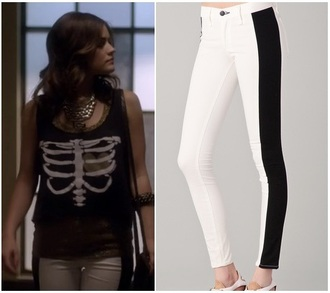 jeans pants black and white pretty little liars style skinny jeans skinny pants lucy hale aria montgomery shirt