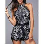 romper,rose wholesale,chic,style,fashion,black,lace,classy,beautiful,girly,lace romper,black and white