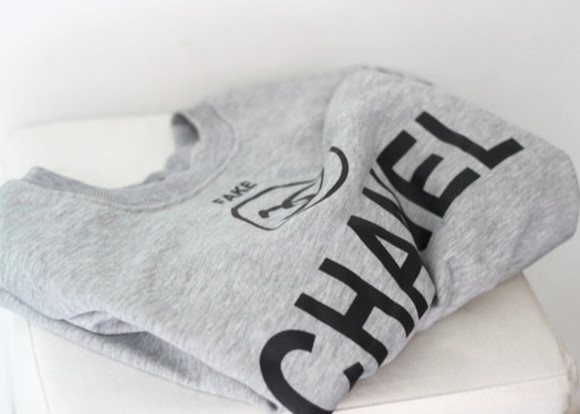 chanel sweater shirt chanel t-shirt blouse fake grey cc shirt chanel logo tshirts gray t-shirts coco channel sweatshirt