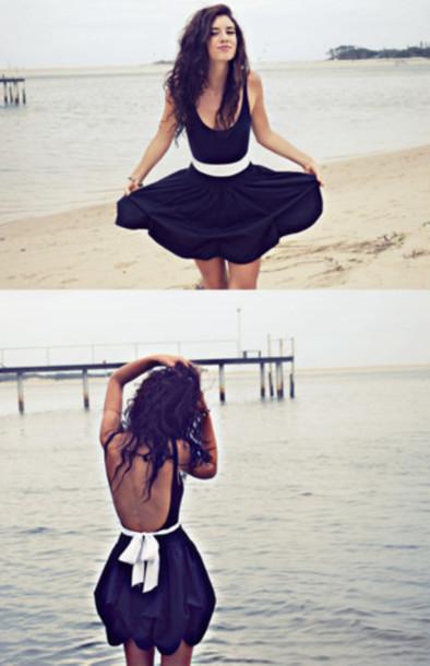 bow black dress mini dress backless dress bow dress little black dress white bow cute dress