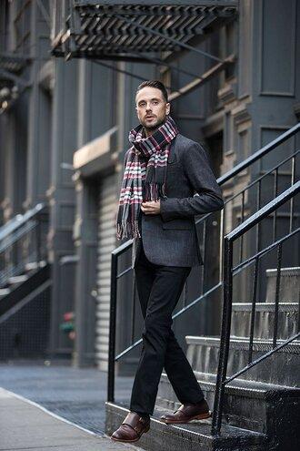 he spoke style blogger tartan scarf mens shoes mens blazer mens knitted scarf