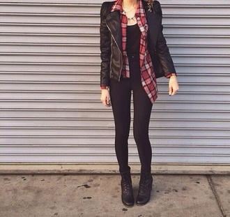blouse fall outfits winter outfits leggings boots plaid shirt shoes jacket flannel
