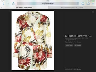 romper topshop palmes red gren white suit two-piece flowers exotic print