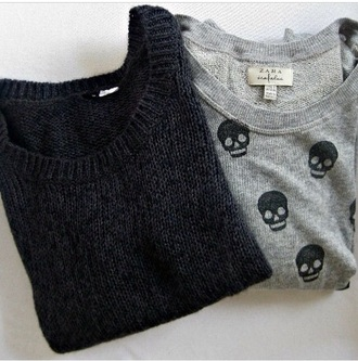 sweater warm grey black sweater grey sweater wool skull sweater alien jeans