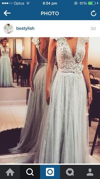 dress prom dress long prom dress mint embellished flowers open back instagram open back prom dress