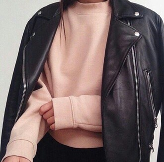 sweater on point clothing cropped sweater light pink pink salmon nude pink nude all nude everything leather jacket black leather jacket cute classy girly style fashion fall outfits tumblr trendy top jacket edgy