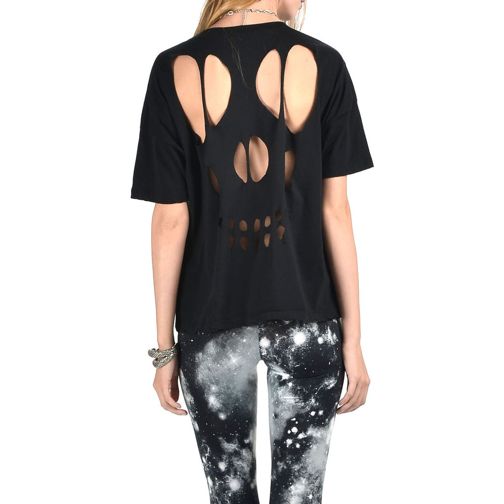 Womens Black Loose Fit Oversized Cut Out Back Skull Tee T Shirt Top | eBay