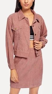 jacket,girly,girl,girly wishlist,pink,two-piece,corduroy,denim,denim jacket,denim skirt,skirt