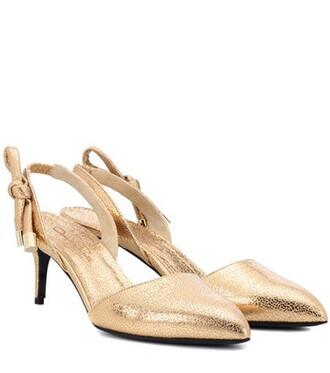 pumps leather gold shoes