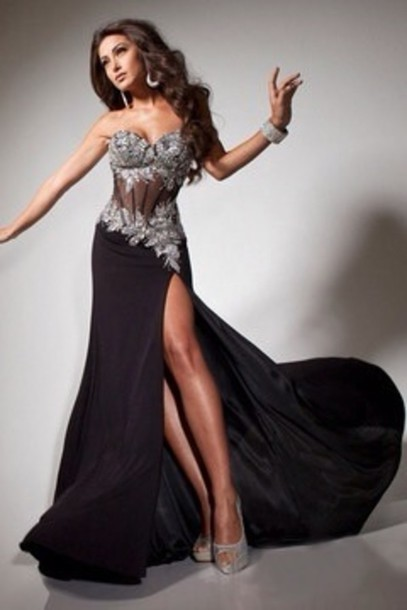 Dress: black, silver glitter, prom dress, sexy, sweetheart ...