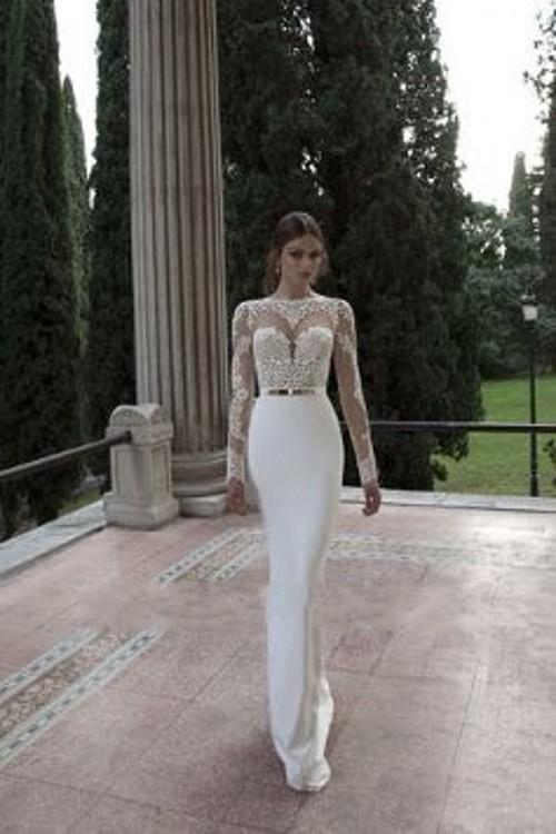 Aliexpress.com : Buy Elegant Appliques High Lace White Long Sleeve ...