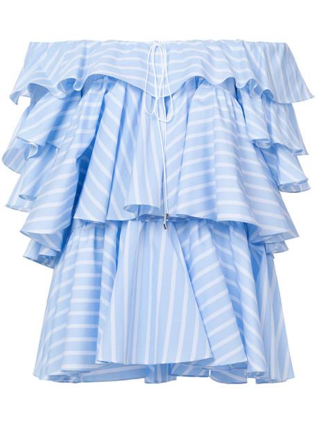 Tome top ruffle women layered cotton blue