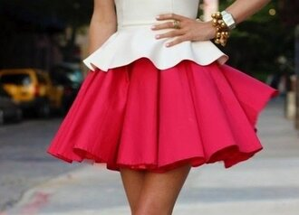 skirt red skirt clothes pink skirt and white top skater skirt full skirt pleated skirt dress elegant kittenish dress red-white dress white blouse cute dress folds short dress sweetheart dress 2 colours waves pink tank top white top pretty bodycon tumblr peplum cream cute bright style pink skirt hot pink dress shirt