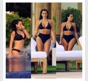 swimwear,black,kim kardashian,sexy,bikini,high waisted bikini,celebrity,high waisted,summer
