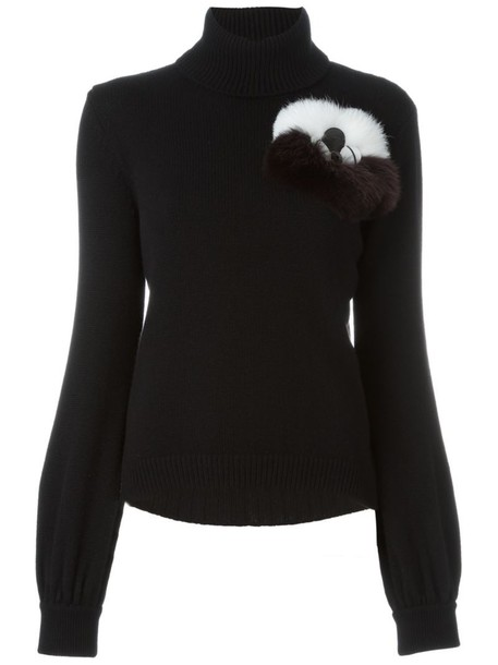 Fendi jumper fur fox women black sweater