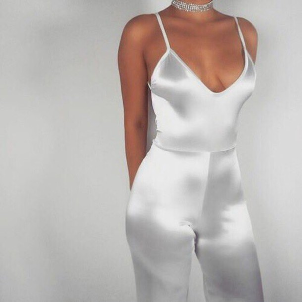 Dress: jumpsuit, silver, white, silk, satin, romper, romper, pants ...