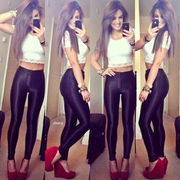 jeans leather lace high waisted jeans high waisted black and white shirt shoes pants black white crop tops summer red heels louboutin summer outfits leggings t-shirt jewels sun blouse