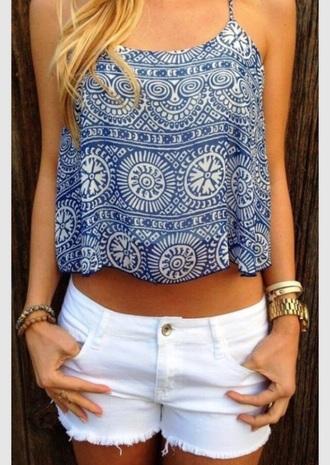 top blue and white blue shirt cami cute top summer top