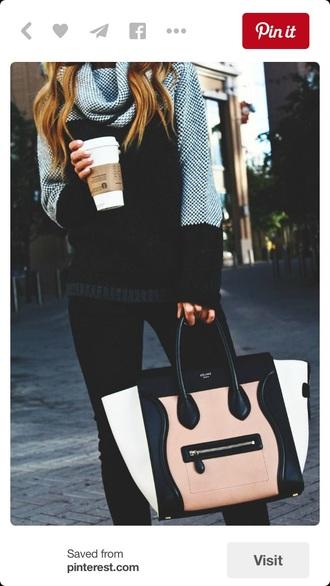 bag handbag purse black white nude accessory