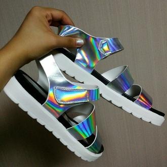 shoes hologram sandals high heel sandals holographic holographic shoes cute sandals fashion style hippie hipster