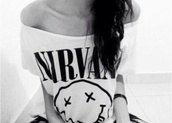 t-shirt,band t-shirt,striped shirt,top,black and white,nirvana,sleeveless,off the shoulder,shirt