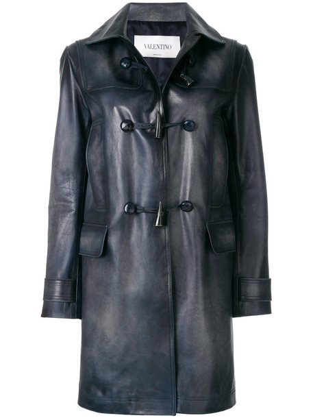 Valentino coat women leather blue