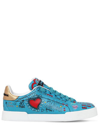 sneakers leather turquoise shoes