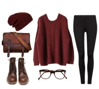 sweater hipster vintage red brown hat sunglasses jeans bag shoes