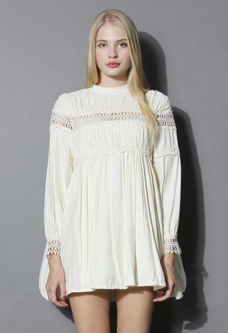 dress retro vibe ruffled dolly dress in ivory ivory chicwish