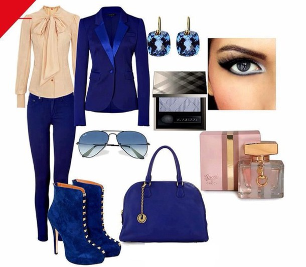 blouse cream blouse long sleeves ribbon ankle boots suede boots blue high heels gold