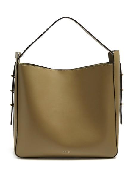 Wandler open leather khaki bag