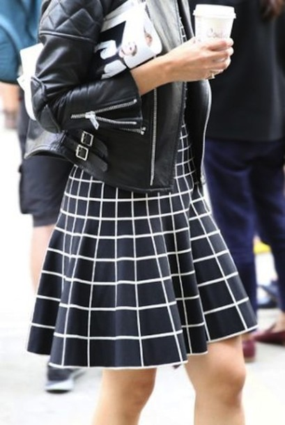 Black And White Plaid Skirt - Dress Ala