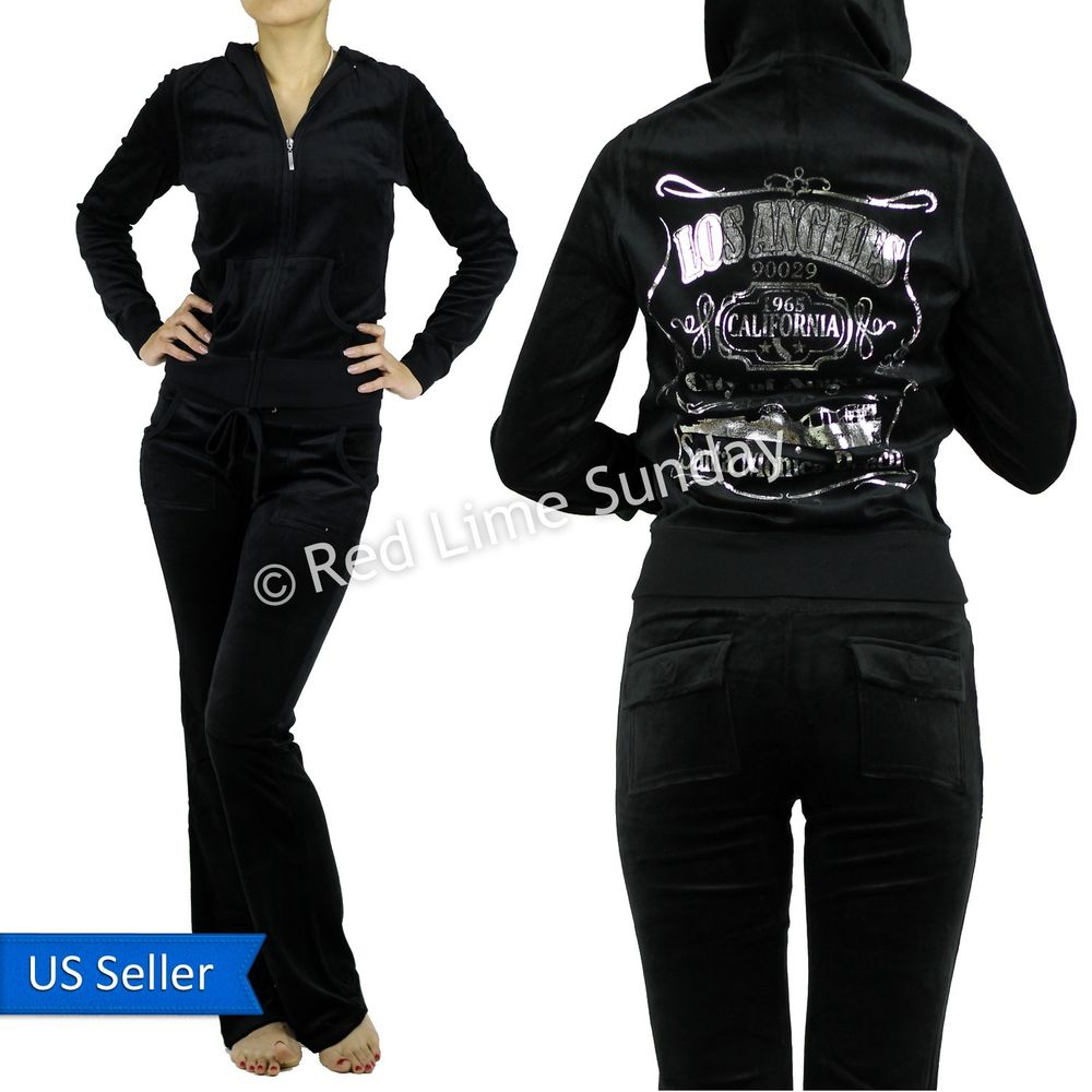 Los Angeles 90029 Silver Glitter Foil Print Velour Track Hoodie Jacket Pants Set