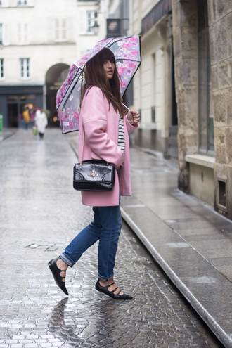 meet me in paree blogger pink coat umbrella shoulder bag vivienne westwood