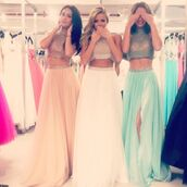 sherri hill,prom dress,white dress,blue dress,pearl,pearl dress,dress,two pieces bridesmaid dresses,beading top chiffon dresses,split side evening dresses,girls graduation dresses 2015,women clothing summer,two piece dress set