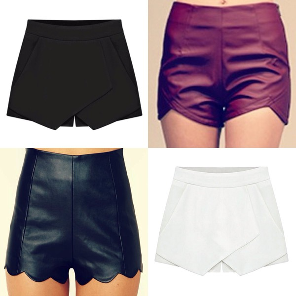 leather shorts skorts scalloped shorts vcut shorts