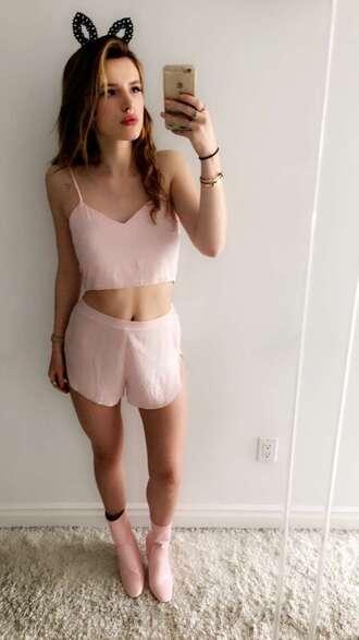bella thorne snapchat blush pink nude lingerie lingerie set