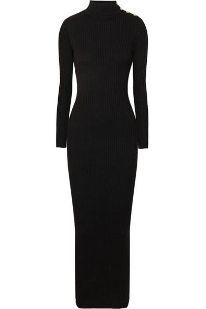 Balmain dress maxi dress maxi black wool