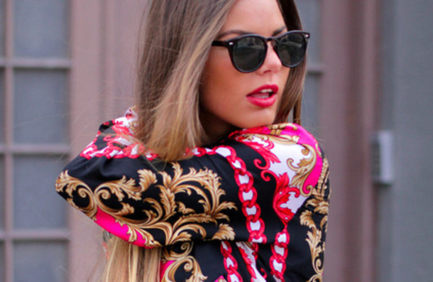 shirt scarfprint jacket blouse red style chain gold black hipster classy dress dress to impress sweater sunglasses