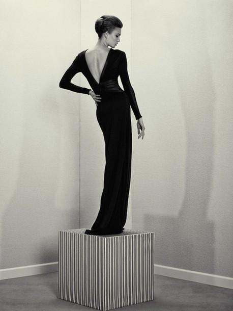 Dress Black Black Maxi Dress Formal Dress Long Sleeve Dress V