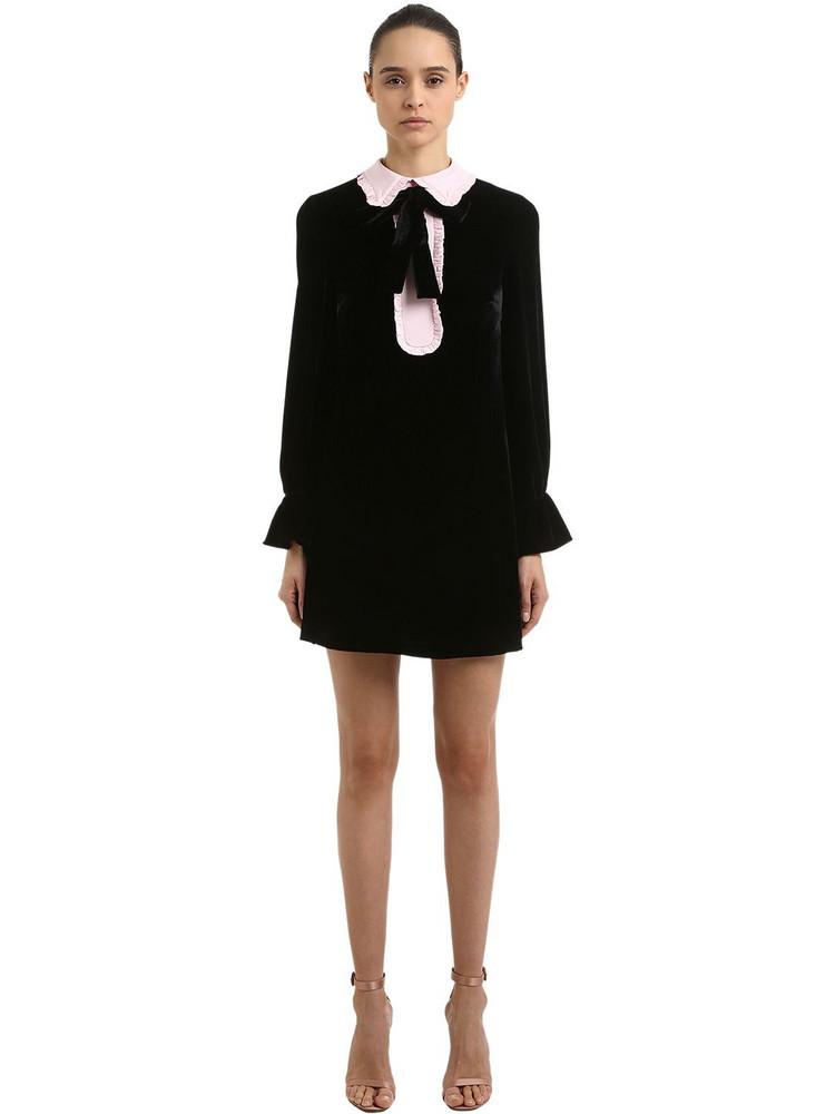 VIVETTA Velvet Mini Dress W/ Contrasting Collar in black