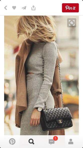 skirt grey two piece dress set knitted dress