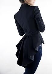 jacket,dress,jacket dress,beautiful,elegant,blazer,swallow tail,classic black,coat