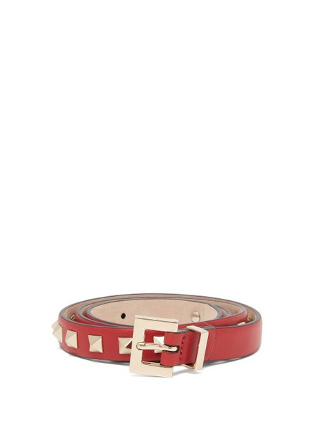 c3cd860a435 Valentino Valentino - Rockstud Embellished Leather Belt - Womens - Red